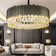 Italy Postmodern Luxury Lighting Designer Dark Gray Living Room Restaurant Black Lamp Atmospheric Metal Stainless Steel Crystal