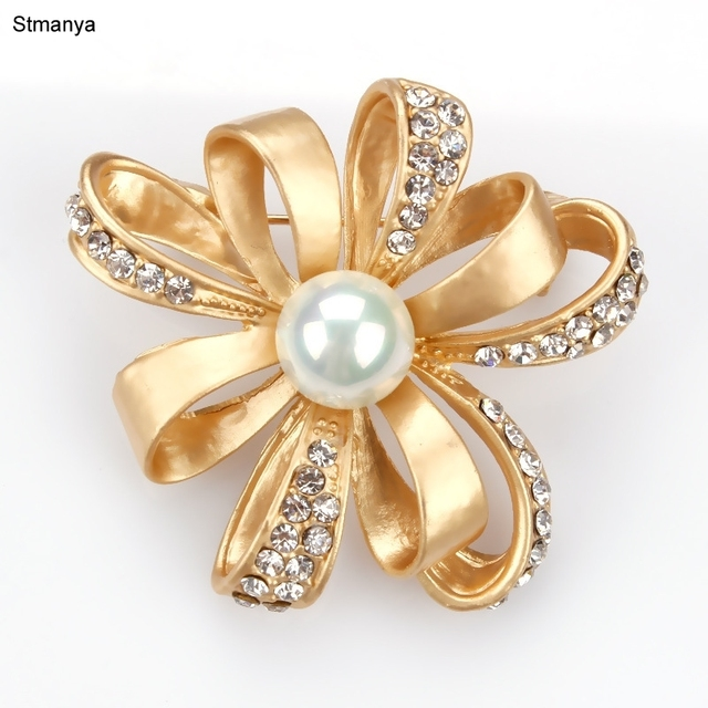 Hot gold silver color rose pearl Flower Brooch pins ribbon shape alloy  crystal cloak Shawl Scarf Buckle Pin Party jewel H1046 5deca513657e