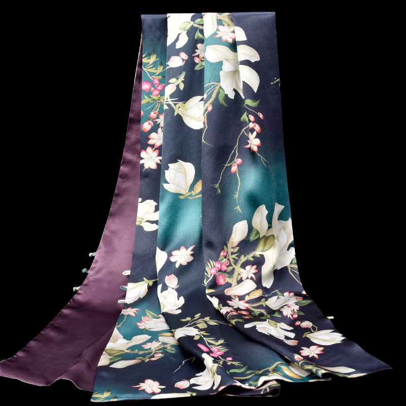 Double Side 100% Real Silk Shawls Wraps For Women Flower Print Chinese Natural Pure Silk Scarves Scarf For Ladies Party 175*53cm