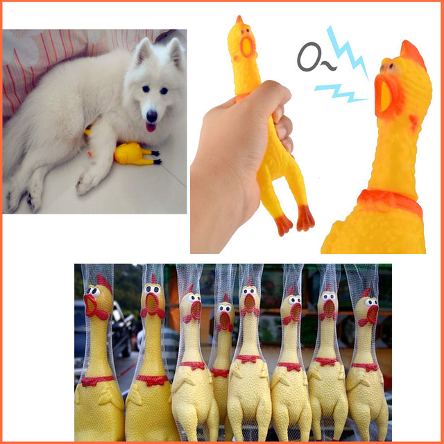 Funny gadgets 31cm High Quality novelty  Yellow rubber Dog Toy Fun Novelty Squawking Screaming Shrilling Rubber Chicken for kids