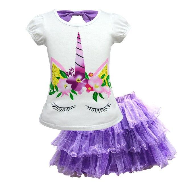 0777aac9b 1-10 años lindo unicornio cara niños niña ropa conjunto niños ropa de dibujos  animados
