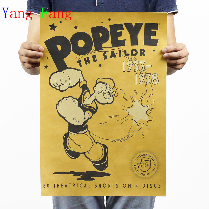 Vintage Classic Cartoon Characters Popeye The Sailor Comics Poster Bar Kid Home Decor Retro Kraft Paper 51x35cm Wall Sticker