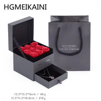 S tiff black leather flannelette paper rose gift box jewelry box