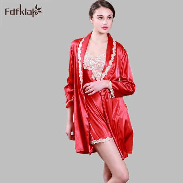 1bd6cf12af ... Fdfklak High Quality Sexy Women Robe   Gown Set Summer Elegant Silk  Satin Robe Set Female ...
