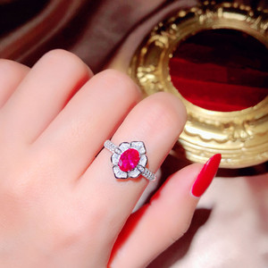 Image 5 - Palace Vintage S925 Sterling Silver Ruby Open Rings For Women Red Corundum Pigeon Egg Anel Finger Ring