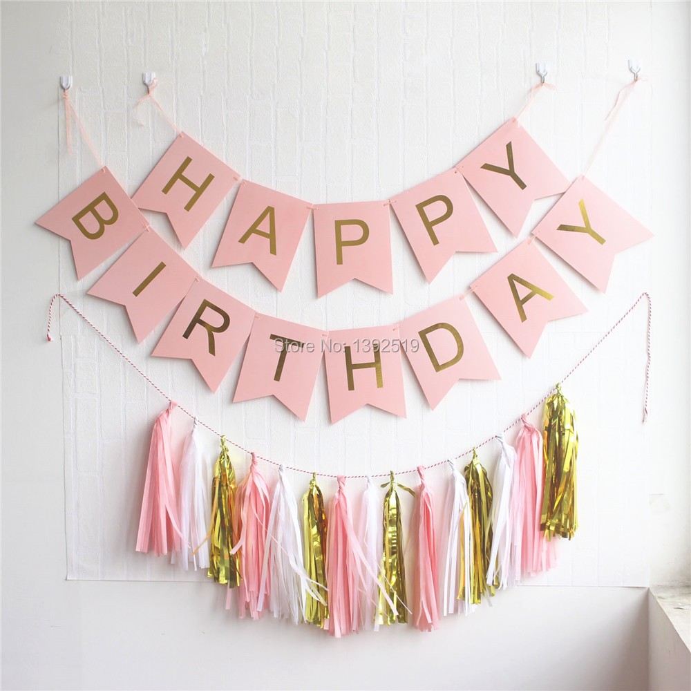 Gold Hanging Letters Mint Green Happy Birthday Banner With Hanging Tassel Garland And