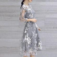 FREE SHIPPING !! Women Summer Organza Floral Print Dress JKP950