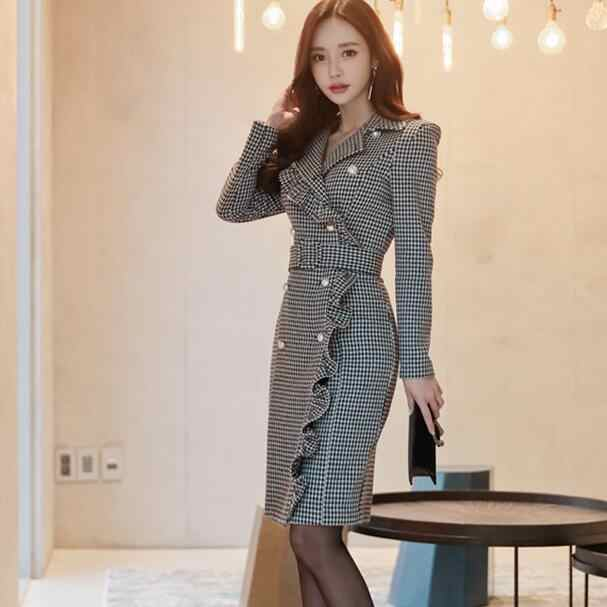 Women Plus Size Party Midi Dresses 2018 Winter Double-breasted Long Sleeve  Ruffles Bodycon Houndstooth df0c8cf42043