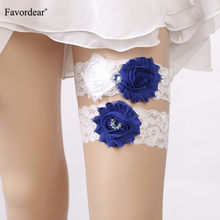 Favordear White Lace Three Flowers Wedding Garter with Blue Beading 2 PC Elastic Band Fashion Bridal Garter for Women/Bride(China)