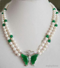 2 Rows Genuine White Pearl Green GEM Crystal Butterfly Pendant Necklace White Plated Bridal wide watch wings queen