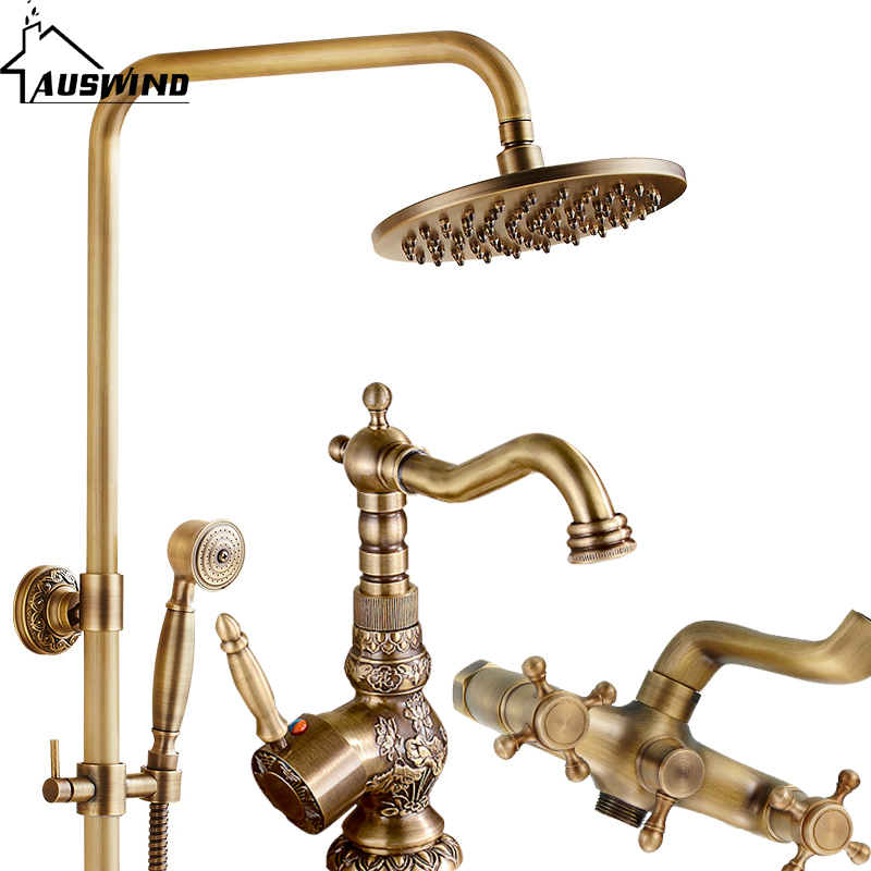 Parede do chuveiro de chuva set torneira do chuveiro set esculpido Anique AUSWIND montado 8 polegada torneira do chuveiro cabeça de chuveiro livre do vintage conjunto