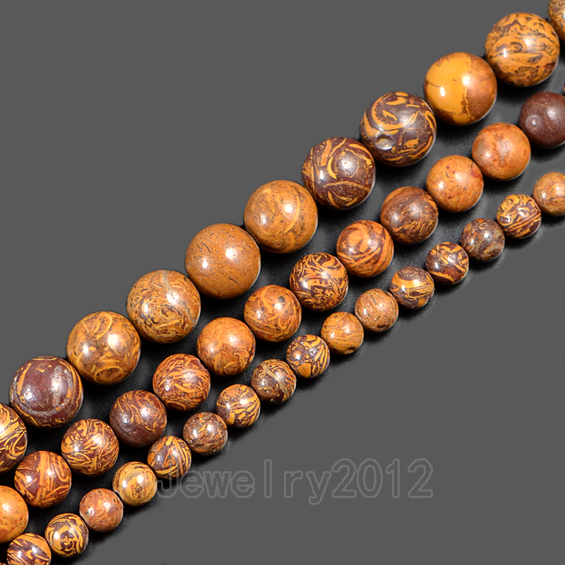 5strands/pack Smooth Fireworks Jaspe-r Gem Stone Round Spacer Loose Beads 15'' 6mm 8mm 10mm Diy Jewelry Making Wholesale