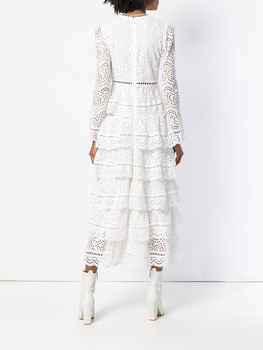 Deep V lace white midi dress Full sleeve Embroidery high quality one-piece women dress sexy