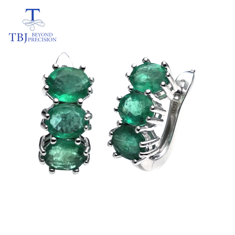 TBJ good clasp earring with natural emerald gemstone in 925 sterling silver design for women Valentine
