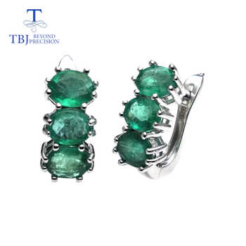 TBJ,good clasp earring with natural emerald gemstone in 925 sterling silver design for women Valentine or anniversary gift box - DISCOUNT ITEM  8% OFF All Category