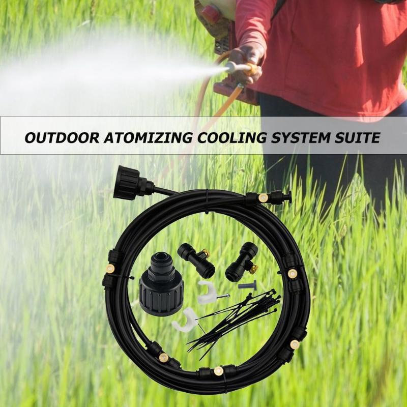 Image 4 - 6M 18M Outdoor Misting Cooling System Kit for Greenhouse Garden Patio Waterring Irrigation Mister Line Watering System-in Sprayers from Home & Garden
