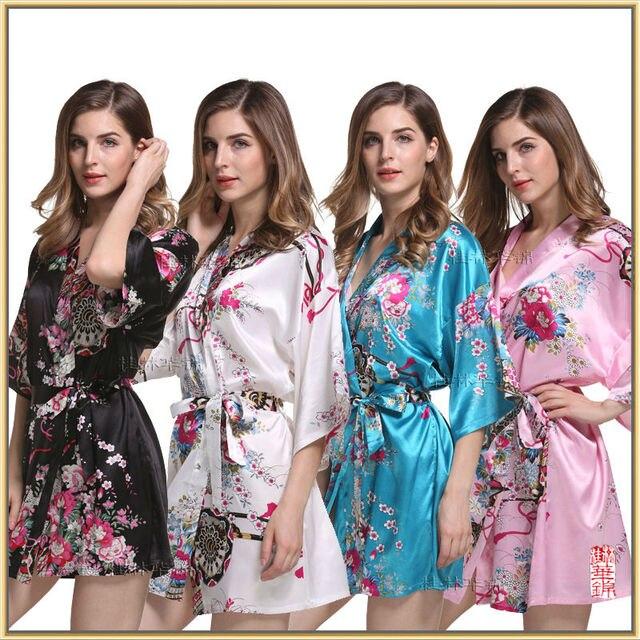 Sexy Ladies Атласная Шелк Печати платье Ночь Платье Пижамы Babydoll Пижамы M-XXL HJWQ23