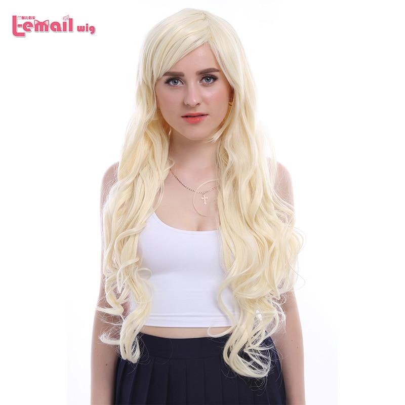 L-email wig 32inch 80cm Lång Cosplay Parykar 5 Färger Vågigt Brunt Beige Syntetiskt Hår Perucas Cosplay Paryk
