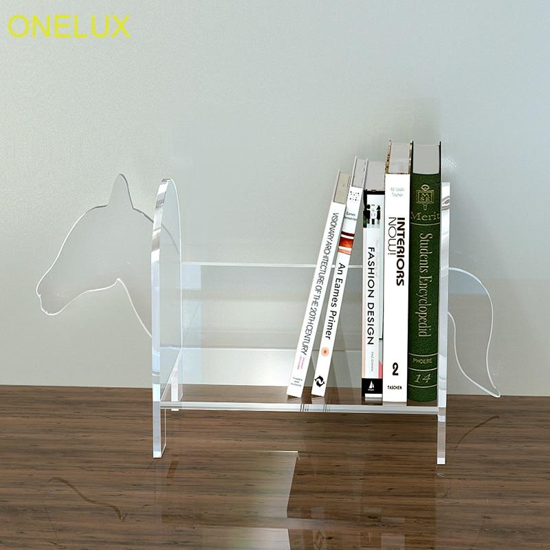 Horse Shape Desktop Acrylic Book Organizer Holder Tabletop