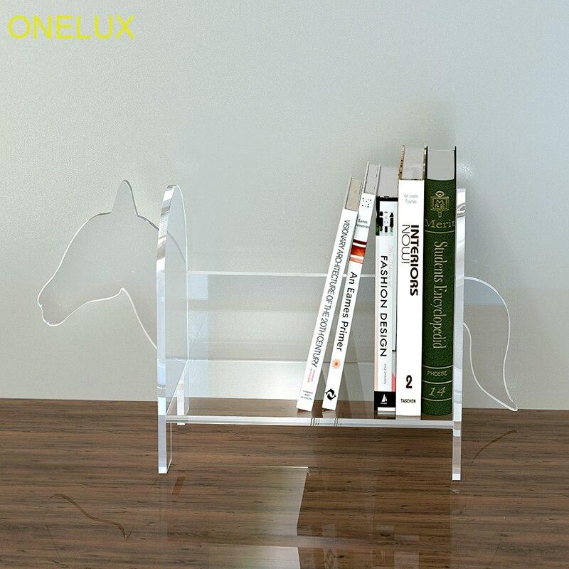 Support organisateur de livre acrylique de bureau de forme de cheval, livres de Lucite de table en forme d'animal