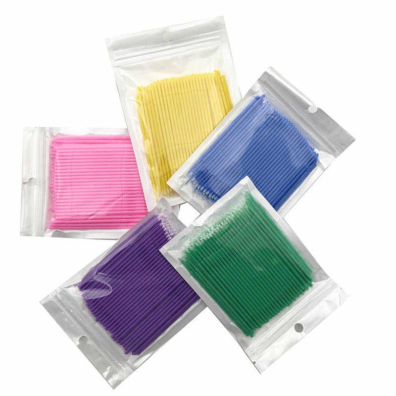 100 piezas desechables pinceles de maquillaje hisopo Microbrushes extensión de pestañas herramientas pestaña Individual eliminar herramientas Libre de pelusa