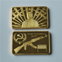 цена 30pcs/lot, AK 47 Golden Square Collection Arts Gifts Commemorative Coin, 1 Oz 24k Gold-Plated bullion bar, free shipping онлайн в 2017 году