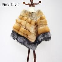 PINK JAVA QC8068 free shipping 2016 new real fox fur poncho genuine silver fox fur wrap women winter coat