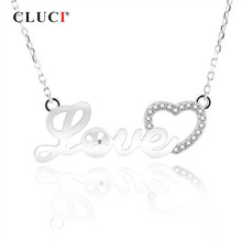 CLUCI 925 Sterling Silver Love Letter Pendant Necklace Women Zircon Jewelry Silver 925 Love Heart Necklace Gift for Girlfriend(China)