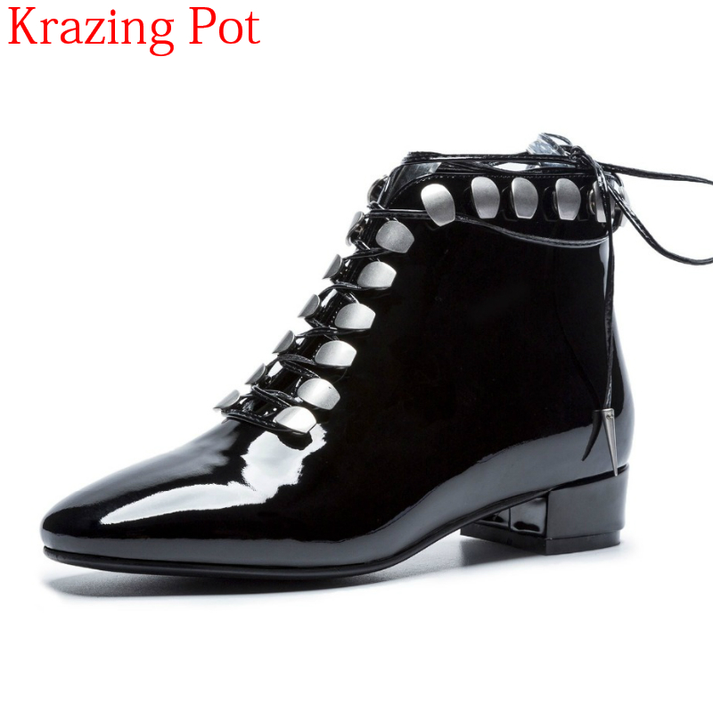 2018 New Arrival Genuine Leather Low Heels Metal Career Work Boots Winter Shoes Elegant Round Toe Lace Up Women Ankle Boots L29 2018 new arrival genuine leather zipper runway autumn winter boots round toe high heels keep warm elegant women ankle boots l29