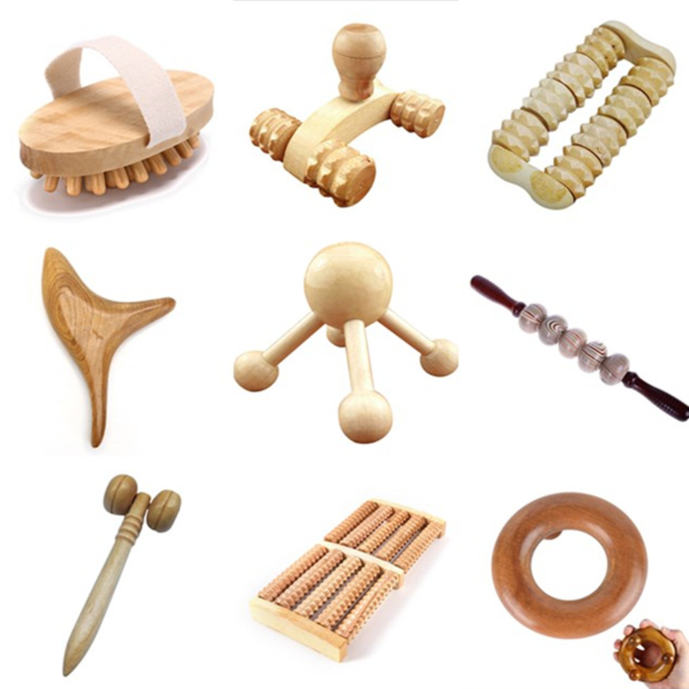 1PCS Wood Massager Roller Tool Reflexology Face Hand Foot Back Waist Body Therapy Relax Massager Slimming Care Tool