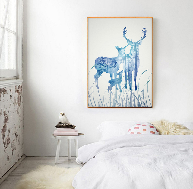 NEW Deer Canvas Wall Art Nordic Minimalist Printable Posters And Prints Pictrues For Living Room