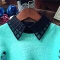 2016 Mujeres Ahueca Hacia Fuera la Tela Escocesa Decoración Fake Medias Camisa de Solapa Tops de Malla Cuello PeterPan Señora Dril de Algodón Desmontable Lazo Mujer Blusas blusa