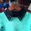 2016 Women Hollow Out Plaid Decor Fake Half Lapel Shirt Tops Mesh PeterPan Lady Detachable Denim Collar Female Tie Blusas Blouse