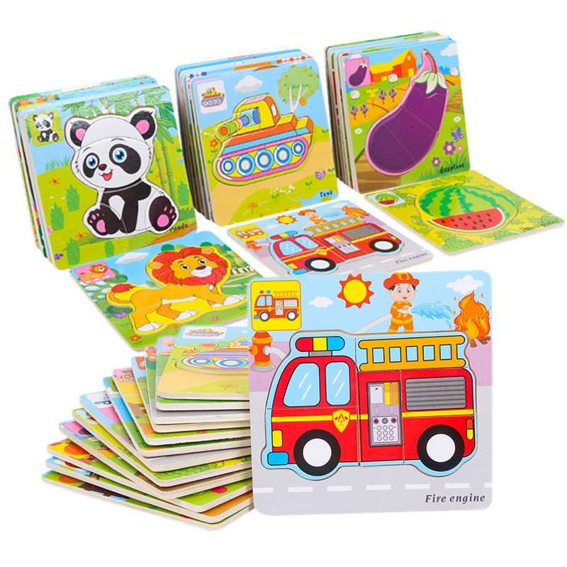 Colorful Wooden Puzzle Montessori Car Animal Fruit Vegetables Learning Jigsaw Baby Educational Toys For Kid Cartoon Puzzles Gift