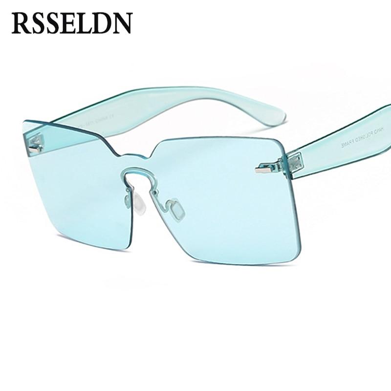 RSSELDN Fashion Female Green Pink Rimless Sunglasses Women Classic Designer Transparent Square Sun Glasses For Men Shades 2017