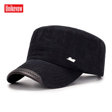 UNIKEVOW Cotton Army Baseball Cap Letter washed Flat top Hat for men Military cap with iron logo sport
