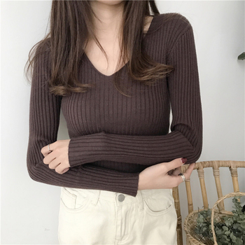 Korean Autumn V Neck Sweater Knitted Fashion Sweaters Slim Winter Tops For Women Pullover Jumper Pull Femme Truien Dames Women Outerwear & Accessories