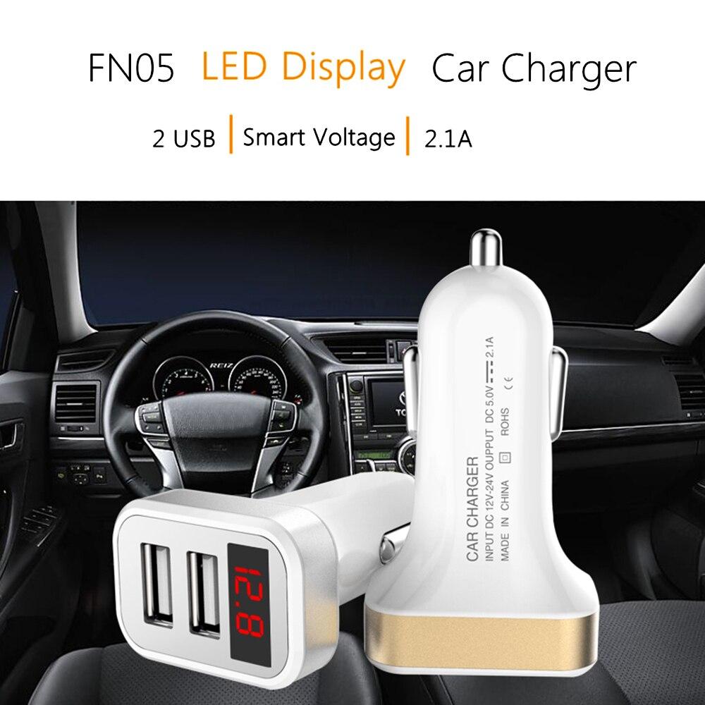 Цифровой дисплей LED 5V 2.1A Dual USB Автомобильное зарядное устройство Быстрая зарядка для iPhone X 8 Samsung S8 Plus