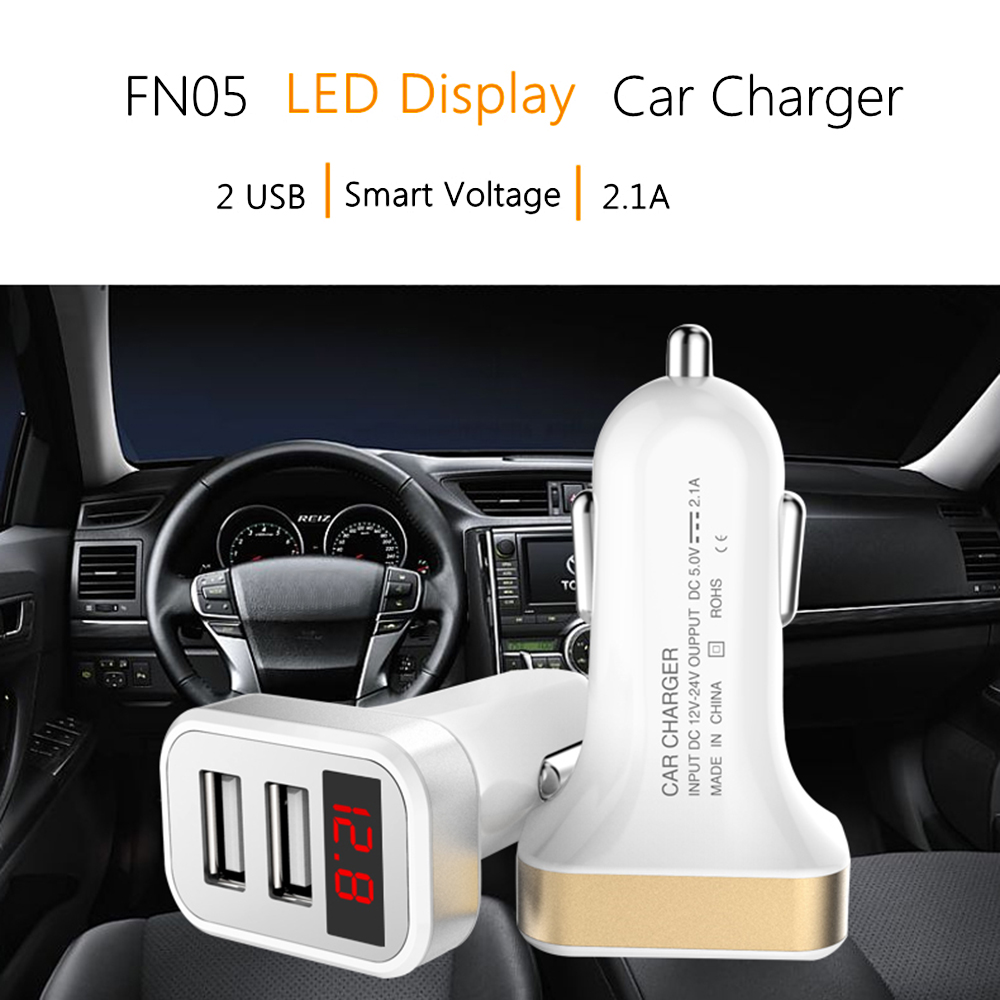 Display Digital LED 5 V 2.1A Dual USB Carregador de Carro de Carregamento Rápido para o iphone X 8 Samsung S8 Plus