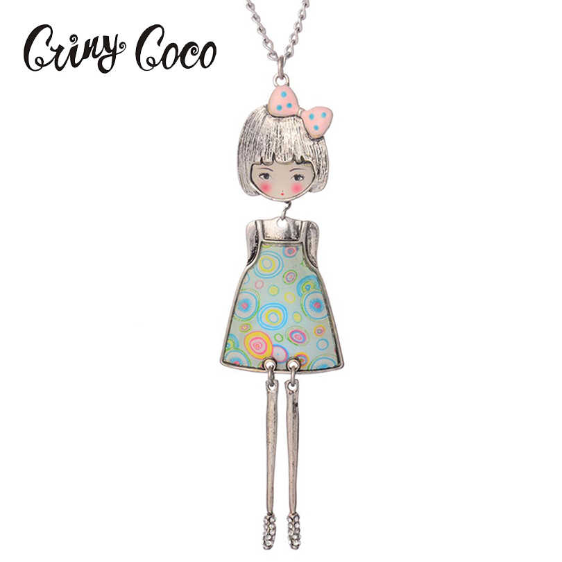 Women Necklace Pendant Doll Lovely Flower Dress Pendant Ladies Girl Drip Enamel Girl Doll Charm Necklace Fashion for Party
