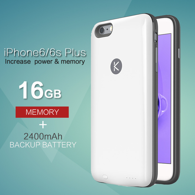 KUNER 16GB Memory & Extended Battery Case for iPhone6plus iPhone 6plus 6s plus (5.5 inch) with 2400mAh Capacity