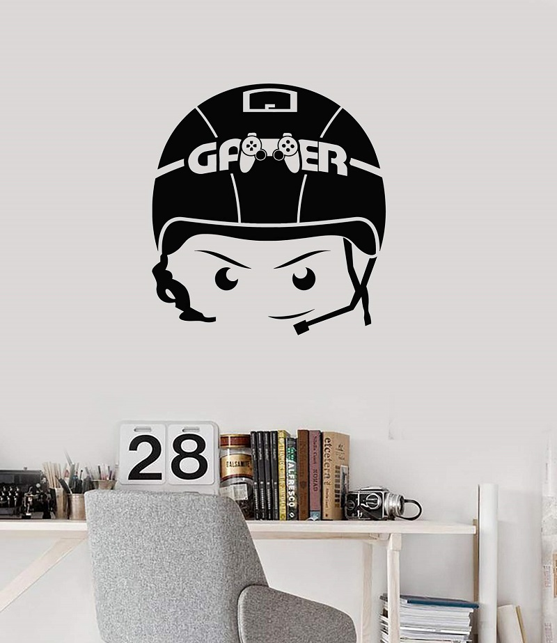 Vinyl wall applique boy video game headphone room art sticker mural, game hall, entertainment venue decoration  YX12