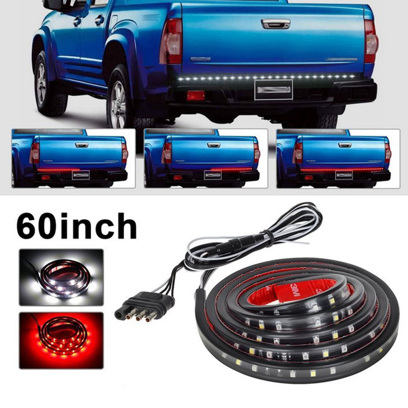 22W 49 Flexible LED Car Truck Tailgate Light Bar Red and White 12V 72LED Running/Brake/Reverse/Signal/Rear Strip Light Lamp