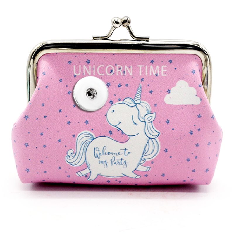 Unicorn  OWL  Elephant  PU Leather 18mm Snap Button jewelry  Coin Purses Small-Wallets  Money-Bags For girls  gift QB512 snap button jewelry