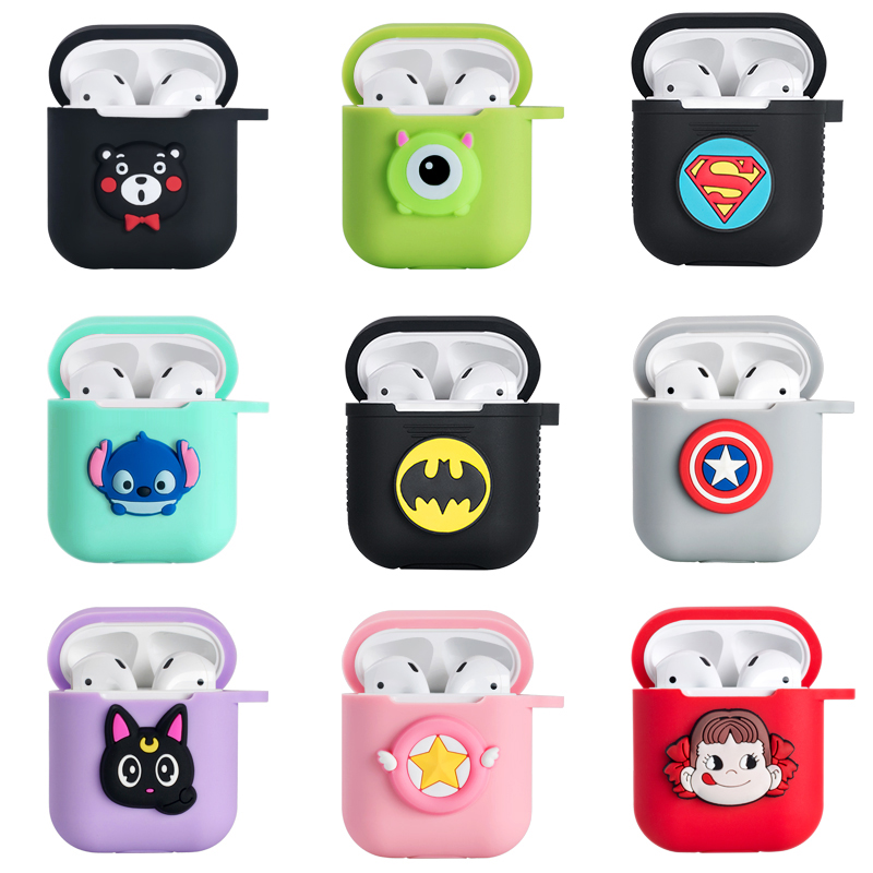 Image 2 - Hello Kitty Melody Mickey Minnie Sesame Street Egg Pattern Silicone Case For Apple Airpods Bluetooth Earphone Bag Cover-in Earphone Accessories from Consumer Electronics