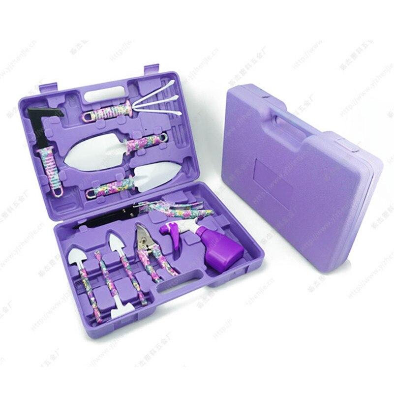 10 шт. садовый набор инструментов с пластиковой коробкой, лопата с принтом, бутылка с распылителем, прополка, ножи, филиал, ножницы для живой и