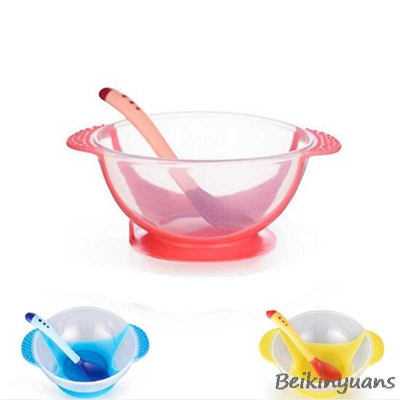 Dla dzieci niezależne zastawa stołowa dla dzieci czujniki temperatury i przyssawka pomocnicze miska na karmę temperatury indukcji łyżka dla dzieci