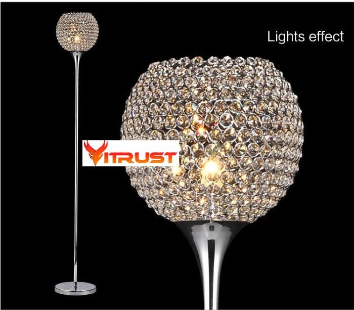 Moderne Permanent étage Lampes art déco Cristal lampadaire pour
