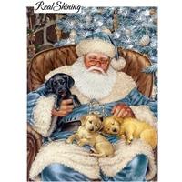 Diy Diamond Painting Santa Claus Dog Diamond Embroidery Mosaic Cross Stitch Crystal Full Square Christmas Decor