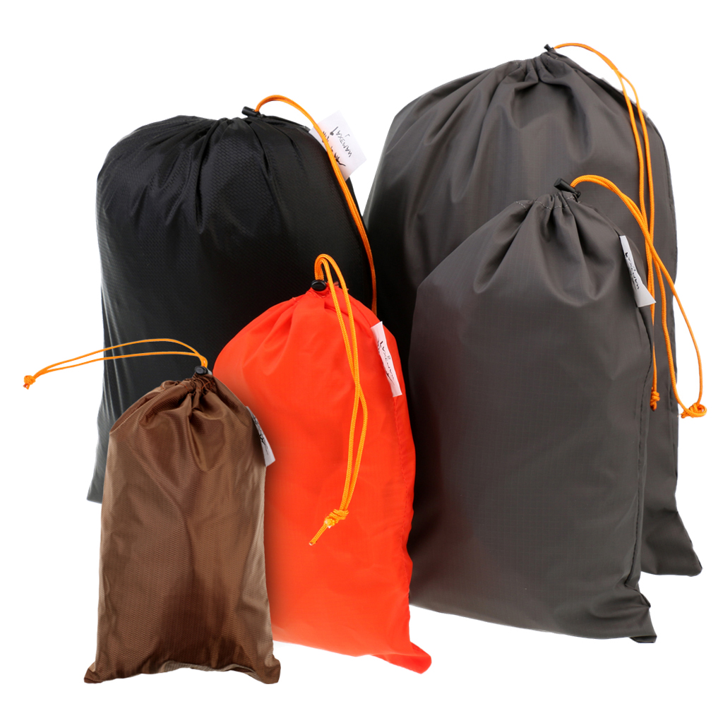 5Pcs Outdoor Travel Luggage Organizer Drawstring Clothes Shoes Stuff Sack Set Ultra-light Storage Bag For Camping Accessories